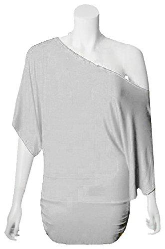 Las mujeres murciélago Top–hombro Top–Batwing Off Shoulder Top–�?Camiseta de básicas–Basic blusa camiseta blanco
