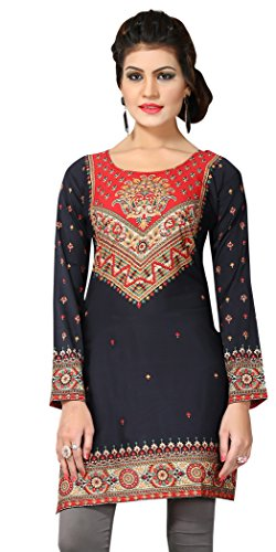 Indian Tunic Top Womens Kurti Printed Blouse India Clothing – Small, L 143