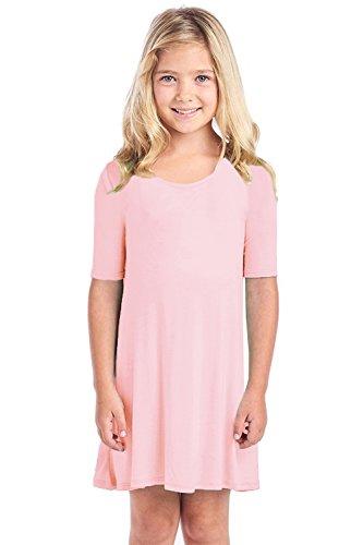 Syktkmx Girls Tshirt Dress Casual Short Sleeve Tunic Swing Flowy Loose Cotton Jersey Midi - Jersey Pink Dress Girls