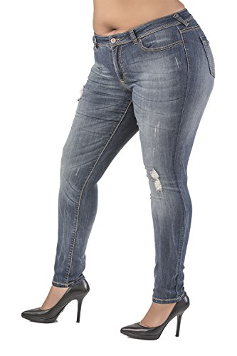 Poetic Justice Plus Size Women's Curvy Fit Blue Vintage Wash Destroyed Skinny Jeans Size 20 x 32Length by Poetic Justice (Image #2)