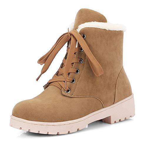 AnMengXinLing Winter Snow Boots Women Suede Lace up Flats Platform Fashion Ladies Sneaker Shoes Light Brown