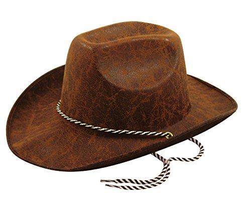 Aspect Cuir Feutre Brun Adulte Chapeau De Cow-boy Accessoire Costumée
