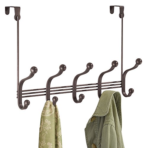 mDesign Over Door 10 Hook Steel Storage Organizer Rack for Coats, Hoodies, Hats, Scarves, Purses, Leashes, Bath Towels & Robes - Bronze