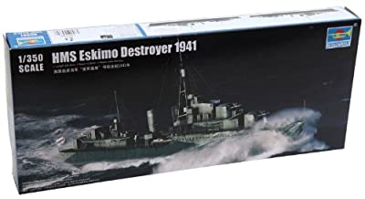 Trumpeter HMS Eskimo WWII British Tribal Class Destroyer Ship Model Kit (1941), Scale 1/350 by Stevens International