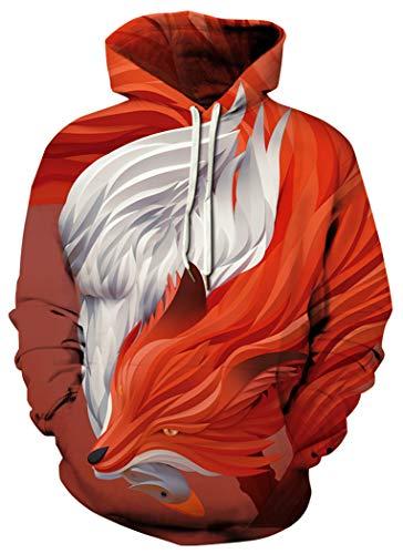 BarbedRose Unisex Realistic 3D Print Galaxy Pullover Hoodie Hooded Sweatshirt,Red Fox,S/M