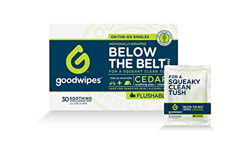 Goodwipes Below the Belt Flushable Wet Wipes for Men, Cedar Scent, 30 Individually Wrapped Wipes (Fragrance Grooming Wipes)