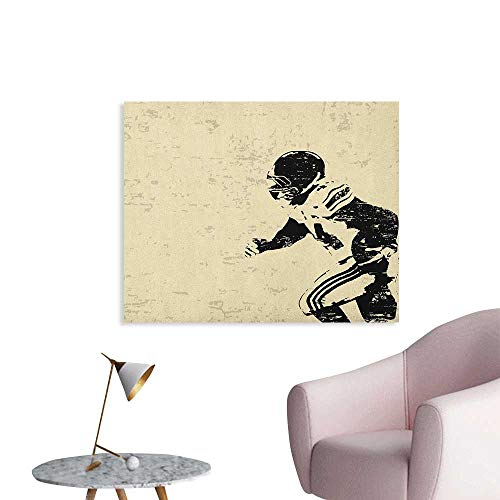 Anzhutwelve Sports Wallpaper Rugby Player in Action Running Success in Arena Playground Sport Best Team Picture Funny Poster Beige Black W36 xL32 (Black Action Marble)
