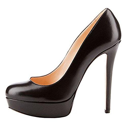 MERUMOTE - Zapatos de Plataforma mujer Black-Matte