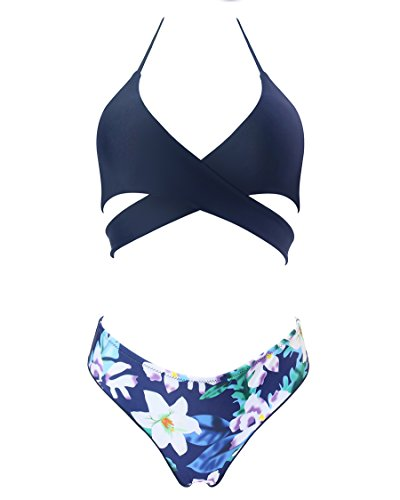 MOSHENGQI Women Front Cross Halter Push up Bikini Floral Bottom 2 Piece Cute Swimsuits