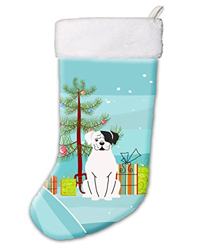Caroline's Treasures Merry Christmas Tree White Boxer Cooper Stocking, Large, Multicolor