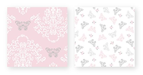 Pink, Gray and White Shabby Chic Alexa Damask Butterfly 4 Piece Girls Twin Bedding Set Collection by Sweet Jojo Designs (Image #4)