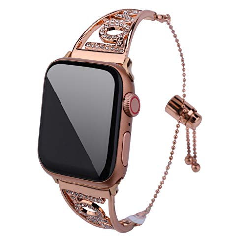 ❤SU&YU❤Luxury Crystal Love Symbol Strap Replacement for Apple Watch Band 4321 42mm/44mm (Gold)