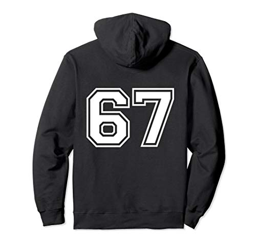 #67 Sports Fan Player Game Winner Lucky Outline Number Back Pullover Hoodie -