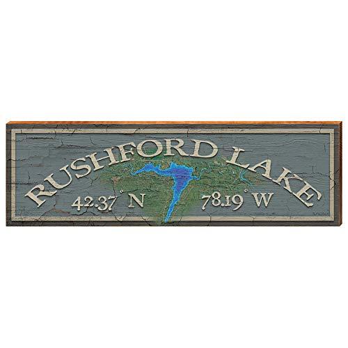 Rushford Lake New York Latitude Longitude Home Decor Art Print on Real Wood (9.5