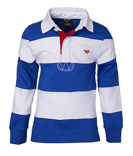 (Sportoli Big Boys 100% Cotton Wide Striped Long Sleeve Polo Rugby Shirt - Roya/White (Size)