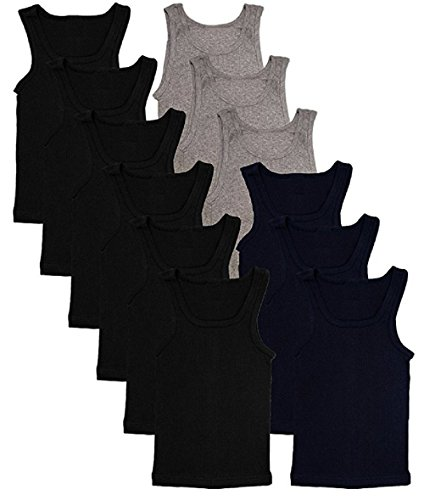 Andrew Scott Basics Boys' 12 Pack Color A-Shirt Sport Tank Top Undershirts (12 Pack - Black/Gray/Navy, L)