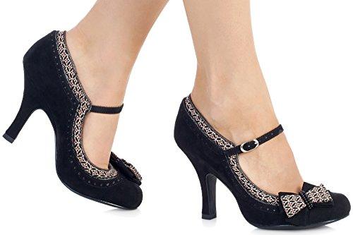 Ruby Shoo Georgia Black Womens Bar Hi Heels Shoes