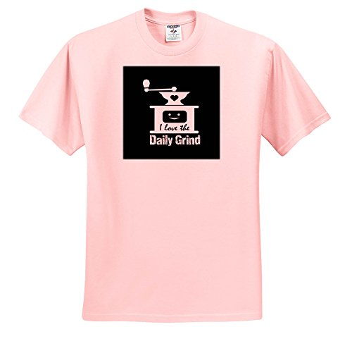 Price comparison product image 3dRose Russ Billington Designs - Funny Coffee Grinder Design In White On Black - T-Shirts - Youth Light-Pink-T-Shirt XS(2-4) (TS_262260_43)