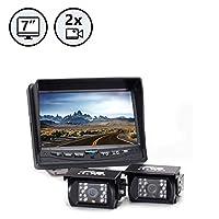 Sistema de cámara de respaldo (2 cámaras) RVS-770614 con monitor de 7 pulgadas para vehículos recreativos, camiones, autobuses y vehículos comerciales