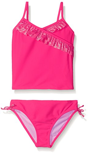 Freestyle Little Girls' Tankini Withfoil Two Piece Swimsuit, Pink, 6