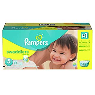 Pampers Swaddlers Disposable Diapers Size 5, 92 Count, GIANT ( Designs May Vary ) (Packaging May Vary)