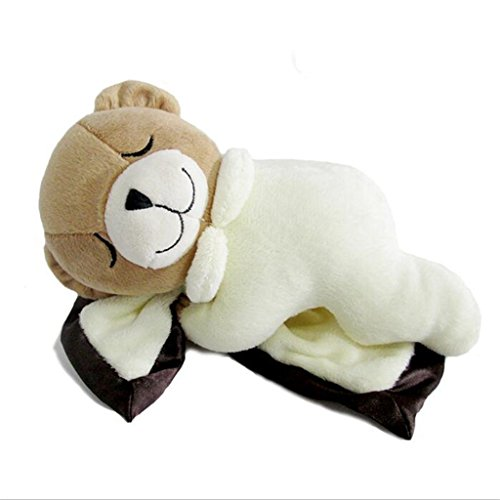 edealing(TM) Sleep Bear Toy Stuffed Cushion Animal Plush Cartoon Soft Pillow Toy For Children Baby -Beige from edealing