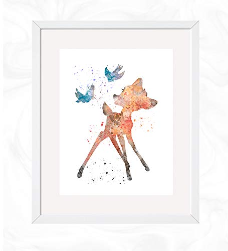 Bambi Prints, Bambi Disney Watercolor, Nursery Wall Poster, Holiday Gift, Kids and Children Artworks, Digital Illustration Art ()