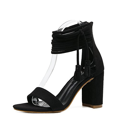 mujer y sandalias de RUGAI sexy tacón de black americanas sandalias Zapatos europeas alto UE UwfwP0q
