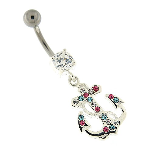 Colorful Multi Colored Crystal Stone Fancy Tribal Anchor Dangling 925 Sterling Silver with Stainless Steel Belly Button Navel Rings