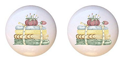 SET OF 2 KNOBS - Sewing Fabric Measuring Tape Pincushion - Crafts Sewing - DECORATIVE Glossy CERAMIC Cupboard Cabinet PULLS Dresser Drawer KNOBS Cushion Pull