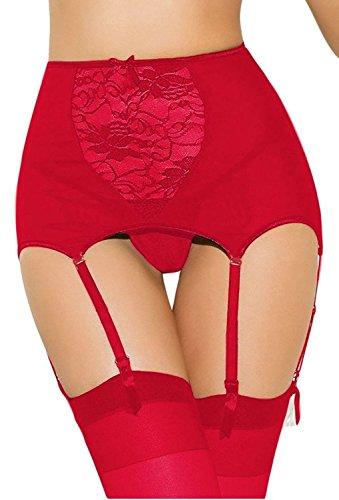 (Estanla Women's Sexy High-waisted Hollow-out Lace Garters(3XL/4XL,Red))