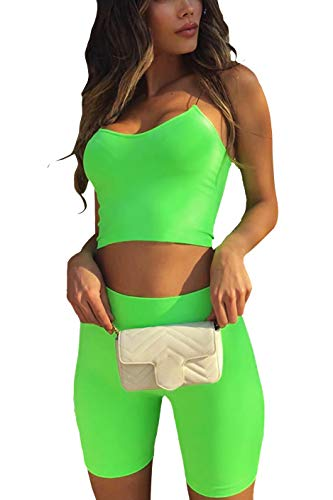 ALERDON Women's Sexy Front Zipper Long Sleeve Skinny Crop Top Shorts Two Piece Set Tracksuit (Smalll, Pants Set / Green02)