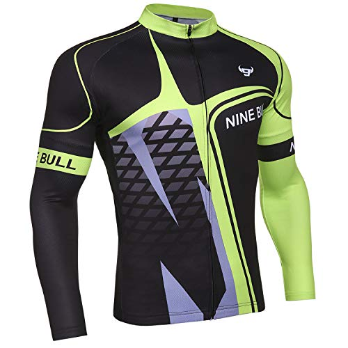 Men's Long Sleeve Cycling Jersey, Bicycle MTB Bike Shirt-Breathable and Quick Dry