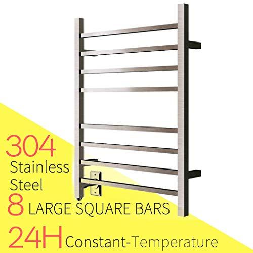 HEATGENE Hot Towel Warmer for Bath Heated Drying Rack 8 Square Bar Brush - Rack Heated Curved Towel