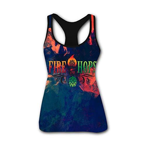 Anna & Beauty Women Tank Top Fire Hops Sleeveless Shirt, Running Exercise Gym Shirts Black