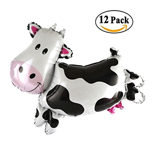 (12 Pcs Cow Shape Mylar Foil Balloon, Animal Cow Theme Birthday Party Supplies, 14