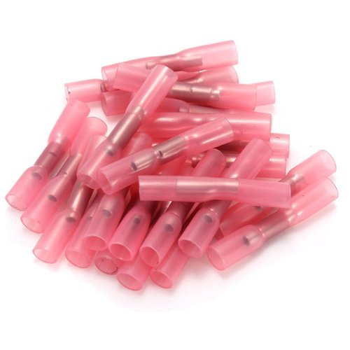 Water & Wood 100 PCS Red 0.5-1.0mm Heat Shrink Butt Wire Crimp Connectors Electrical Terminals