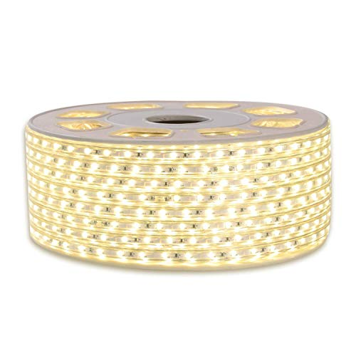 Shine Decor 7x10mm LED Strip Lights, 110V Dimmable Flexible Waterproof Rope Lights, 60LEDs/M, for Indoor Outdoor Ambient Commercial Lighting Decor, Accessories Included, 150ft 4000K Neutral White
