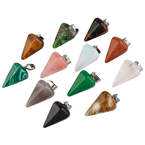 SUNYIK Carved Assorted Stone Pendant Set for Necklace, Healing Crystal Jewelry Charms Kits, Crystal Point Pendant, Pack of 12