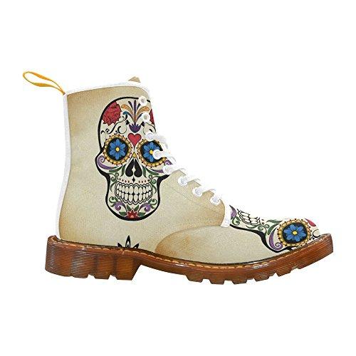 Leinterest Skull Flower Flower Martin Boots Fashion Shoes Voor Dames