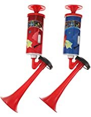 NUOBESTY 2pcs Cheering Air Horn Soccer Football Game Loud Horn Noisemaker Hand Push Air Blower Cheerleading Horn Sports Party Game Cheer Trumpet Toy ( Random Color )