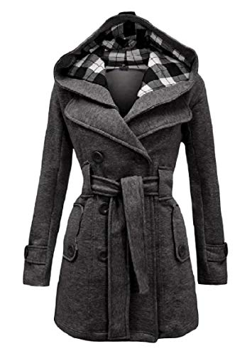 RingBong Womens Mid-Long Oversize Double Breasted Hooded Belted Plaid Coat Jacket Dark Grey (Double Breasted Belted Plaid Coat)