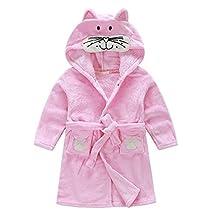 Toddlers/kids Hooded Robe Fleece Bathrobe Children's Pajamas Animals Sleepwear