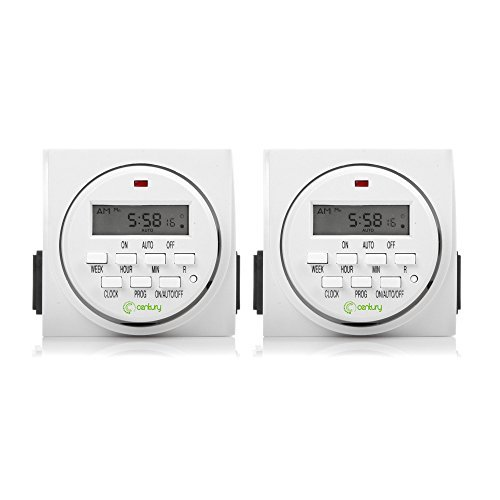 Century 7 Day Heavy Duty Digital Programmable Timer, FD60 U6, 115V, 60Hz, Dual Outlet, Indoor, Packaging May Vary, Dual Outlet, For Lamp Light Fan Security UL Listed(2 Pack)