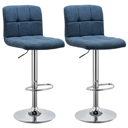 Duhome 2 PCS Fabric Modern Bar Stools Hydraulic Adjustable Swivel Kitchen Counter Height (Blue Fabric)