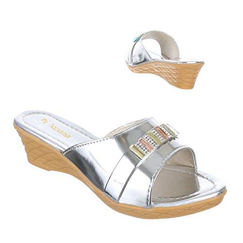 Kinder Schuhe, C-7-3, SANDALEN PANTOLETTEN Silber