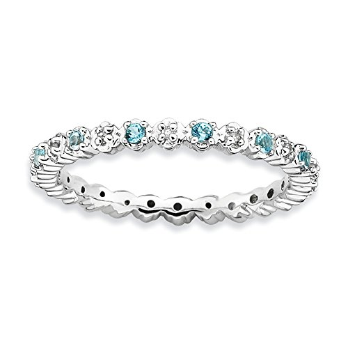 Sterling Silver Stackable Expressions Blue Topaz & Diamond Ring from Jewels By Lux