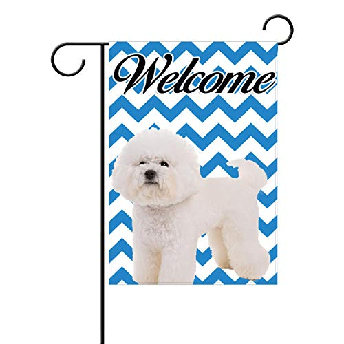 - Coolstuffs Bichon Frise welcome Garden Flag, 12 x 18 Home Decorative Indoor/Outdoor Double Sided Flag For Dog Pet Owners Lovers