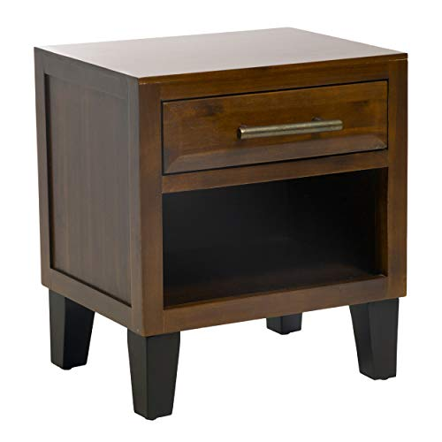 - Glendora Brown Mahogany Solid Wood Single Drawer End Table Nightstand