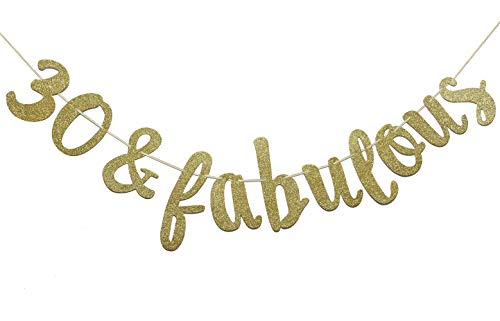 Firefairy 30 & Fabulous Cursive Banner- Happy 30tht Birthday Anniversary Party Supplies, Ideas and -